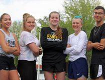 From left are new CCVS track and field record holders Chantal Delormier, Hailee Lafrance, Elaina Read, Ashley Langelier and Camren Oakes. Kevin Gould/Cornwall Standard-Freeholder
