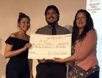 Brooke and Hunter Fisher took top prize for their presentation on Chuck's on Dufferin, at the Glass Panel event held at the Wallaceburg Museum held on Wednesday, May 16, 2018. Presenting the award is Wallaceburg District Secondary School teacher Zhahwun Shognosh, right.