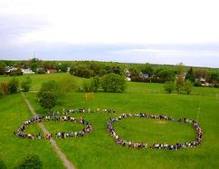 <p>The 270 students at Longue Sault Public School as well as staff formed the number 60, in the school yard on Tuesday, May 22, 2018.The event was captured with drone photographs, courtesy of parent Glenn Daye.</p><p> Handout/Cornwall Standard-Freeholder/Postmedia Network