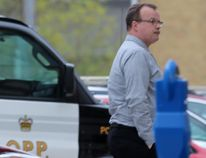 The sentencing hearing for John Paul Stone, seen here outside the Perth County Courthouse in Stratford, Ont., hit a snag Tuesday when a witness did not return for cross-examination. (Terry Bridge/Stratford Beacon Herald)
