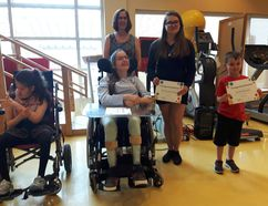 Keith Dempsey/For The Sudbury Star Shannon Moxam, Kimberley Chiasson, Joanne Tramontini, Brianna Mastroianni, and Jacob McGrayen received of the Spirit of Sally Spence Awards yesterday.