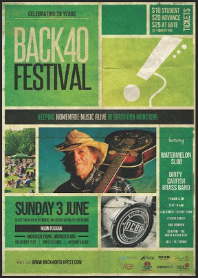 The 29th annual Back 40 Folk Festival is soon to get underway at Morden Park, featuring some of Manitoba's best musicians, artisans, and food from noon until 8 p.m. on Sunday, June 3, 2018.