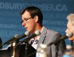 Sudbury PC candidate Troy Crowder makes a point at the Greater Sudbury Chamber of Commerce all-candidates event in Sudbury on Wednesday. Gino Donato/Sudbury Star/Postmedia Network