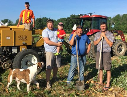 Pollinative members and associates at work from left Cody Hildebrand, Bill Tusch with Jamison, Rick Tusch and Marty Welsh. (Submitted photo)