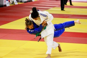 14-year-old Teyana Roberts takes down her opponent at the National Judo Championships which took place May 17-20 at the Olympic Oval in Calgary.Roberts won gold.