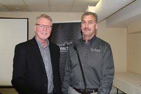 Tom Ormsby, head of external and corporate affairs for De Beers Canada, left, and Alistair Skinner, manager of operations at the Victor Mine, were the guest speakers at a luncheon hosted by the Timmins Chamber of Commerce at the Porcupine Dante Club on Thursday.