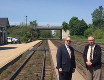 Oxford County CEO Peter Crockett, left, and Warden David Mayberry believe the environmental assessment for the high-speed rail system proposed for Toronto to Windsor needs to look at alternatives such as high-performance rail that would incorporate existing railways. HEATHER RIVERS/SENTINEL-REVIEW
