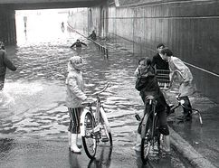 Flooding is seen in the Sault in May 1970.