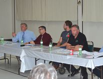 Photo by KEVIN McSHEFFREY/THE STANDARD Five of the six Algoma-Manitoulin candidates in the Provincial Election were at The Standard's Candidates' Forum on Thursday evening at the Moose Lodge. They are: Jib Turner - Progressive Conservative; Tommy Lee - Northern Ontario Party; Justin Tilson - Green Party; Michael Mantha - NDP; and Charles Fox - Liberal.