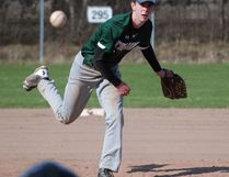 West Ferris Trojans pitcher Braeden Staples got the win and the save in a 10-9 decision over the Chippewa Raiders in NDA baseball action at the Veterans Park diamond, Friday. Dave Dale / The Nugget File Photo