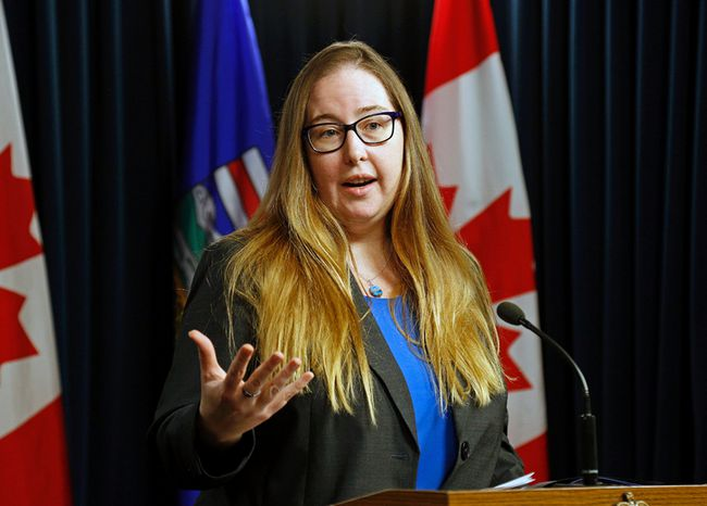 Alberta Labour Minister Christina Gray speaks to media at the Alberta Legislature in Edmonton, Alta. in this file photo from May 20, 2016. Larry Wong/Postmedia Network