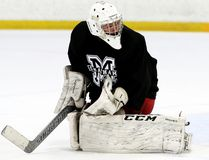 Goalie Adam Harris plays for Team Black at the Chatham Maroons' spring camp at Thames Campus Arena in Chatham, Ont., on Sunday, May 6, 2018. (MARK MALONE/Chatham Daily News/Postmedia Network)