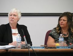 BRUCE BELL/The Intelligencer Hastings and Prince Edward District School board director of education Mandy Savery-Whiteway and board chairperson Lucille Kyle are pictured during Monday night's meeting at the Education Centre discussing the process to rename Moira Secondary School after the name Meyers Creek Secondary School was dropped.
