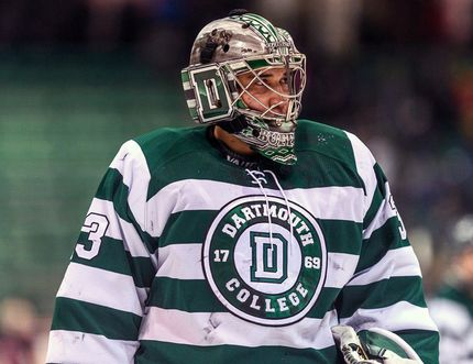 Samson Cree goalie Devin Buffalo was named the 2017-18 MVP for Dartmouth College's men's hockey team. (Supplied)