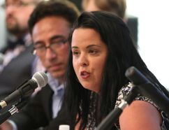 Progressive Conservative candidate Jo-Ann Cardinal touted her party's plan to invest $1.9 billion in mental health and give municipalities a cut of revenue generated from resource development during a debate in Nickel Belt last night. (John Lappa/Sudbury Star)