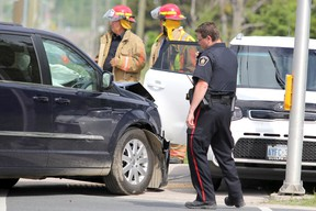 "Firefighters and police respond to a two-vehicle crash at Pine Street and Second Line East that happened at about 3:40 p.m. on Wednesday. ""At least"" two people suffered non-life threatening injuries, said platoon chief George Bumbacco of Sault Ste. Marie Fire Services. The collision slowed traffic in the area."