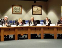 The Chatham-Kent Chamber of Commerce hosted an all-candidates night in council chambers Wednesday. From left are Chatham-Kent-Leamington candidates Jordan McGrail (NDP), Rick Nicholls (PC), Margaret Schleier Stahl (Liberal) and Mark Vercouteren (Green), and Lambton-Kent-Middlesex candidates Todd Case (NDP), Brian Everaert (Trillium) and Monte McNaughton (PC). (Trevor Terfloth/The Daily News)