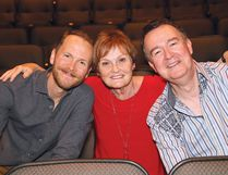 Judi Straughan, middle, poses for a photo with Matt Heiti, left, a former student of hers, and John McHenry, artistic director of the Sudbury Theatre Centre, in Sudbury, Ont. on Monday May 28, 2018. Straughan is being honoured for her volunteerism and support of the arts community. John Lappa/Sudbury Star/Postmedia Network