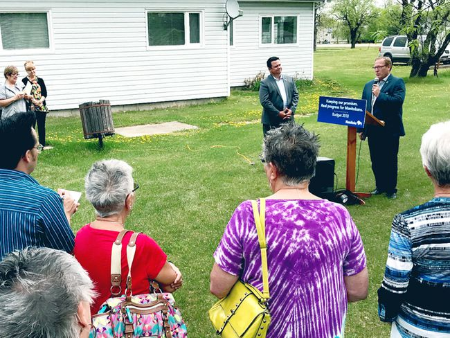 Wharton and Fielding announced, May 25, the province's support for a 55-plus seniors housing unit that will be going up in Gimli within the next two years.