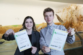 Selkirk Comp students Jenna Kowerko and Xavier Schneider take part in the Nutrien Caring for our Watersheds final competition at Oak Hammock Marsh on April 28. (Brook Jones/Selkirk Journal/Postmedia Network)