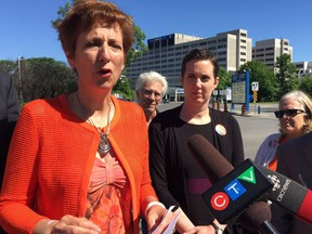 Postmedia photo France Gélinas, the NDP incumbent in the Nickel Belt riding, was outside the Ottawa Hospital General campus Saturday to criticize the Progressive Conservatives' plan for health care.