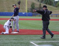 Fort McMurray Giants successfully steal third base during their 2018 season opening weekend on Saturday, June 2 against the Lethbridge Bulls at Shell Place. Laura Beamish/Fort McMurray Today/Postmedia Network.