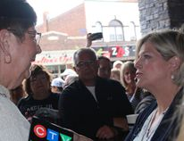 Joanne Rowe tells NDP leader Andrea Horwath about the funding challenges faced by group homes for special needs people. Horwath made a short stop in Sarnia Monday morning.NEIL BOWEN/Sarnia Observer