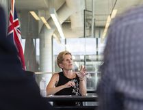 Ontario Liberal Party Leader Kathleen Wynne speaks to students at the University of Waterloo during a campaign stop on Friday, June 1, 2018. Andrew Ryan / THE CANADIAN PRESS
