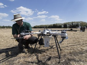 Drone pilot Jeremie Leonard from Biocarbon Engineering helped the Canadian Forest Service for the first-ever Canadian trial of using drones to plant tree seeds. The drone will be used in northern Alberta to plant.