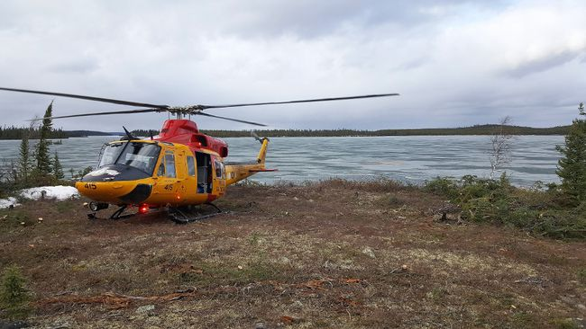 A 417 Squadron Griffon helicopter was sent to Lansdowne Lake for a Search and Rescue Operation in Northern Saskatchewan May 8.