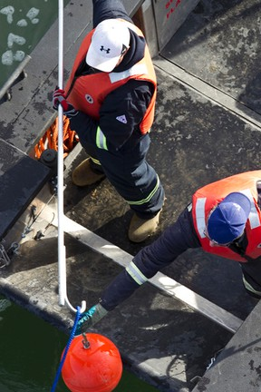 Crews work during a half-day oil spill training exercise.