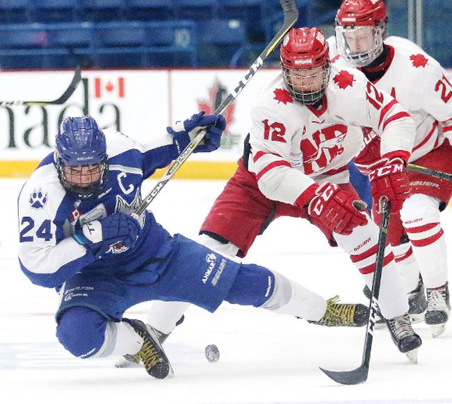 Mathieu Dokis-Dupuis, of the Sudbury Nickel Capital Wolves, gets tripped up by Cordel Larson of the Notre Dame Hounds during 2018 Telus Cup action in Sudbury in April.  Dokis-Dupuis, a draft pick of the OHL's Niagara IceDogs has committed to playing for the NOJHL's Rayside-Balfour Canadians in 2018-19. He is one of a number of players the Canadians have added following the start of the new Canadian Junior Hockey League year on June.  GINO DONATO/POSTMEDIA NETWORK