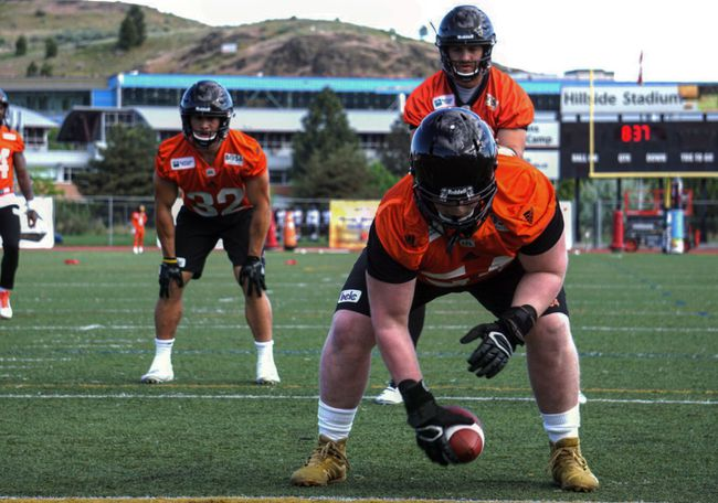 Andrew Peirson of Kingston makes a snap during a workout at the CFL training camp of the B.C. Lions at Hillside Stadium in Kamloops, B.C. (Supplied Photo)