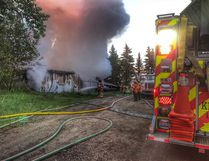Firefighters with Strathcona County Emergency Services put out a house fire in the rural area on Sunday morning that resulted in no injuries, but demolished the home.