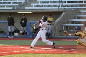 The Giants put bat to ball for a successful hit in their game against the Edmonton Prospects on June 6, 2018 at Shell Place in Fort McMurray. Laura Beamish/Fort McMurray Today/Postmedia Network.