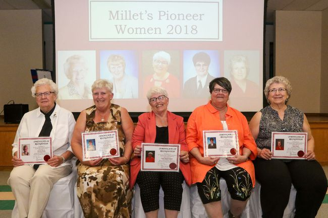 Millet's Pioneer Women were celebrated during a ceremony at the Millet Agriplex June 2. (Sarah O. Swenson/Wetaskiwin Times)