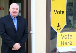 Jim Wilson prepares to submit his ballot outside of the St. Patrick's Parish Hall in Stayner. The Progressive Conservative canidate won his eighth-straight provincial campaign on Thursday. Greg Cowan/The Sun Times.