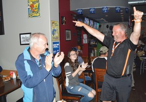 Photo by KEVIN McSHEFFREY/THE STANDARD Algoma-Manitoulin's NDP candidate Michael Mantha walked into Jackleggers Bar and Grill in Elliot Lake after winning his seat in Thursday's provincial election. He was welcomed by a couple of dozen party members, volunteers and supporters.