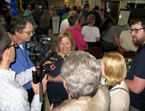 Huron-Bruce MPP Lisa Thompson is scrummed by reporters after being declared the winner in Thursday night's provincial election. (Scott Dunn/The Sun Times)