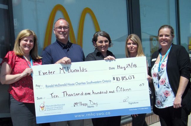 The Exeter McDonald's recently donated $10,115.07 to The Ronald McDonald House of Southwestern Ontario. The money was raised from the May 2 McHappy Day. Pictured from left are Ronald McDonald House of Southwestern Ontario CEO Tracey Keighley-Clarke, Exeter McDonald's owner Rob Reid, general manager Amanda McVeeney, human resources staffer and McHappy Day co-ordinator Paula Gorman and director of development for Southwestern Ontario Heather Hoare. (Scott Nixon/Exeter Lakeshore Times-Advance)