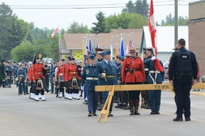 "The ""Freedom of the City"" parade stops before the Town Office on June 9 (Peter Shokeir 