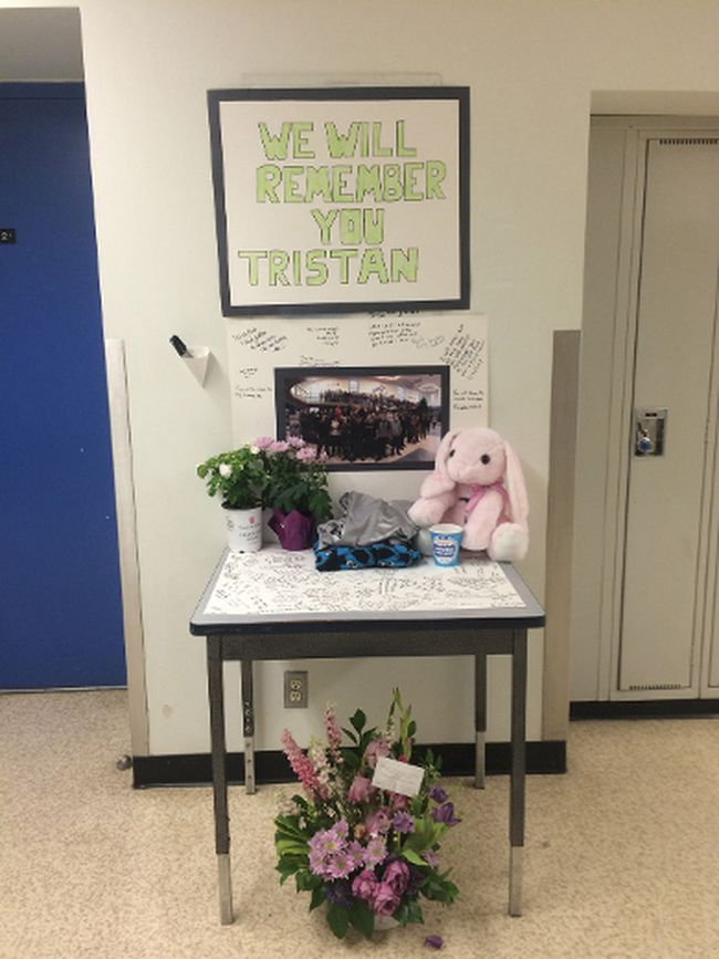 Ardrossan Junior-Senior High School students set up a memorial in honour of their former classmate and friend Tristan Tice-Kidston, who was one of two drivers killed in a collision on May 29.  Zach Mueller/News Staff