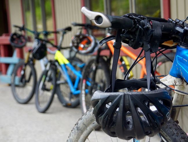 Bikes lined up at the Canmore Nordic Centre for the Ryan Correy Tribute Ride on May 31, 2018.