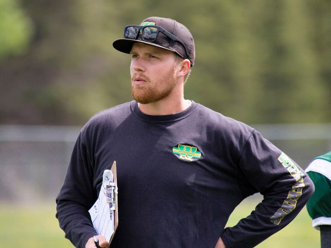 Canmore Wolverines head coach Wade Buckley watches the play at their football Jamboree at Millennium Park on Saturday, June 2, 2018. photo by Pam Doyle/www.pamdoylephoto.com