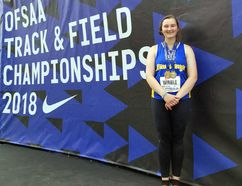 Brantford Collegiate Institute student Alexa Windle won gold in discus and bronze in shot put competing in the midget girls division at the recent OFSAA track and field championship in Windsor. (Submitted Photo)