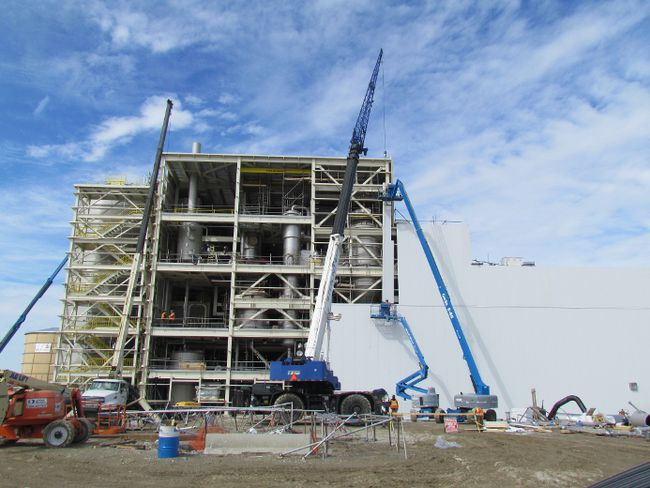 Construction of BioAmber's succinic acid plant in Sarnia is shown in this file photo taken in March 2015. The company has filed for protection under the Bankruptcy and Insolvency Act. (File photo/The Observer)