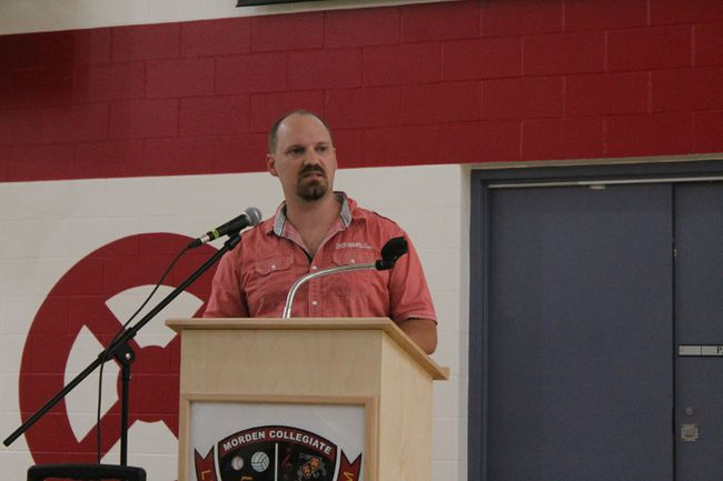 Western School Division board chair Brian Fransen spoke at a public meeting about the lack of school space on June 11. (LAUREN MACGILL, Morden Times)