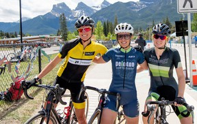 From left, Canmore's Brittany Webster with RMCC placed third, Kara Lilly won first place and Sarah MacArthur was second in the women's 1/2/3 mass start 19.2 kilometre downtown criterium race on Seventh Avenue on Saturday. The event was part of the Rundle Mountain Cycling Club Stage Race held on the weekend. More photos from Saturday's racing online at thecragandcanyon.ca.