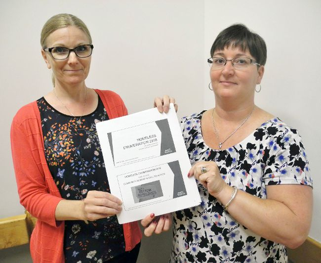 Dozens of volunteers fanned out across Norfolk and Haldimand in May to get a handle on the number of homeless people in the two counties. Presenting survey results at a debriefing in Jarvis Wednesday were Tricia Givens, left, housing services program manager in Haldimand and Norfolk, and Louise Lovell, the counties' housing resource co-ordinator. MONTE SONNENBERG / SIMCOE REFORMER