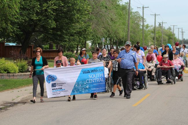 The street in front of Winkler's Salem Home was filled with participants in the annual Alzheimer Walk June 13. (GREG VANDERMEULEN/Winkler Times)